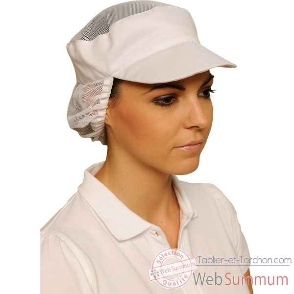 Casquette blanche filet de protection taille unique Creation talbot -PF340