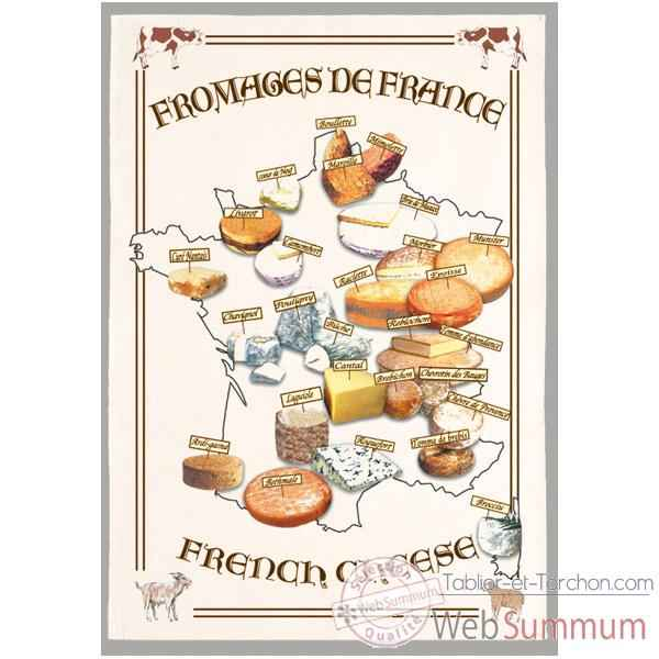 Video Torchon imprime fromages de France -1065